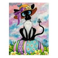 Siamese Easter Bonnet Postcard