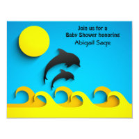Silhouette Dolphin Beach Baby Shower Invitation