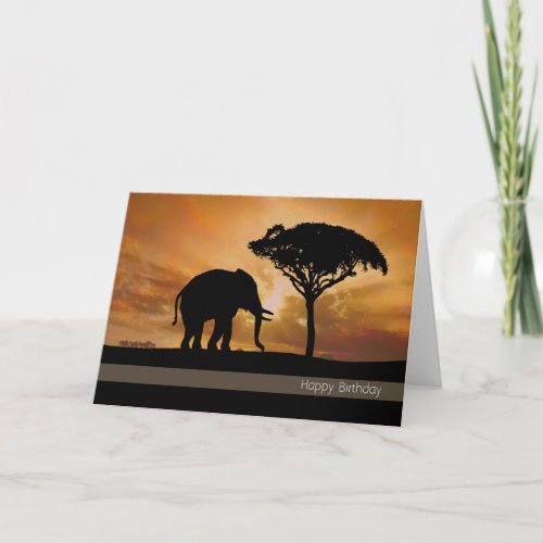 Silhouette Elephant With Sunset Birthday Card