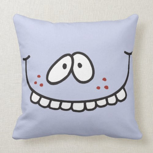 silly teethy grin smiley face lavender throwpillow