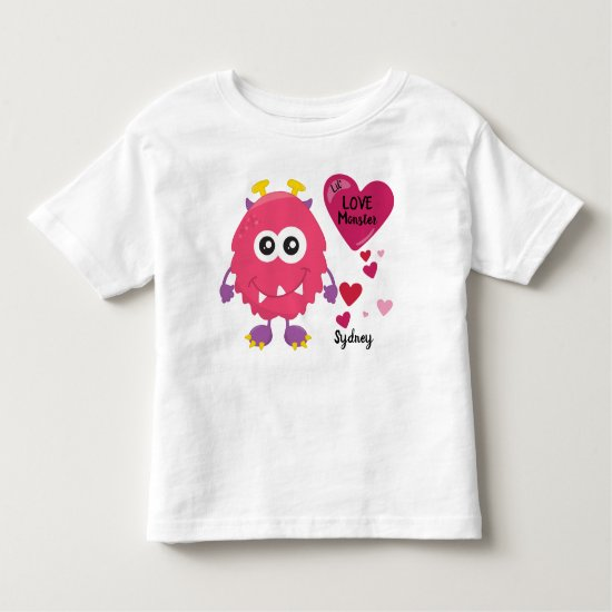 Silly Valentine's Love Monster with Hearts | Cute Toddler T-shirt