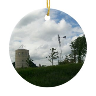 Silo and Windmill Ornament ornament