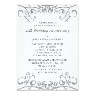 Seafoam Silver 25th Anniversary Invitation Green Gray Wedding Photo