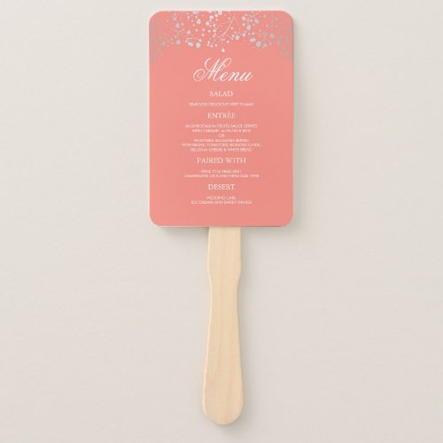 Silver and Blush Coral Wedding Menus Hand Fan