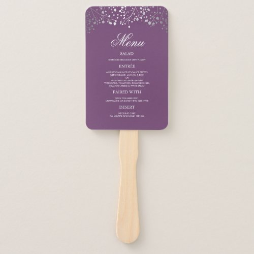Silver and Plum Purple Wedding Menus Hand Fan