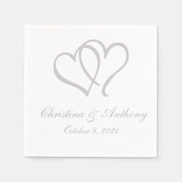 Silver Double Hearts Custom Paper Napkin