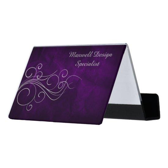 Silver Elegant Purple Professional Desk Business Card Holder