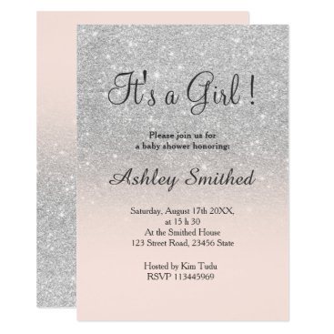 Silver faux glitter pink ombre girl baby shower card