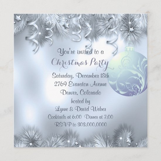 Silver Frost Decoration Christmas Party Invitation