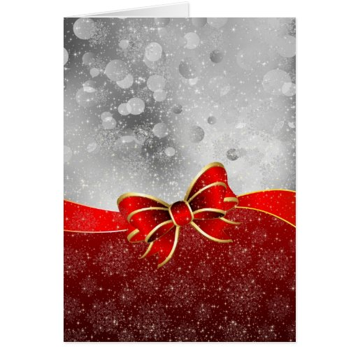 Silver Glitter And Red Christmas Sparkles Bow Card Zazzle