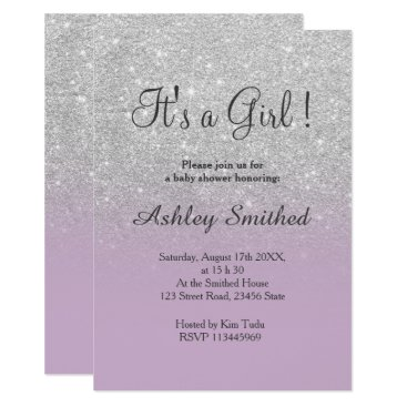 Silver glitter purple ombre girl baby shower invitation