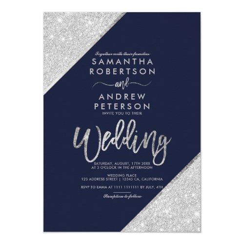 Silver glitter typography navy blue wedding invitation