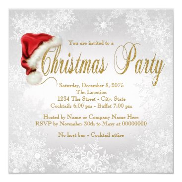 Silver Gold Snowflake Christmas Party Invitation