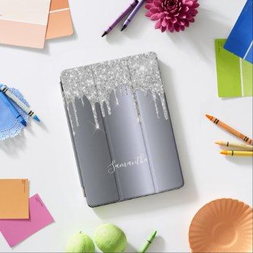 Silver metallic glitter drips dripping iPad air cover