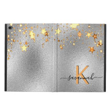 Silver metallic gold stars monogram name glam powis iPad air 2 case