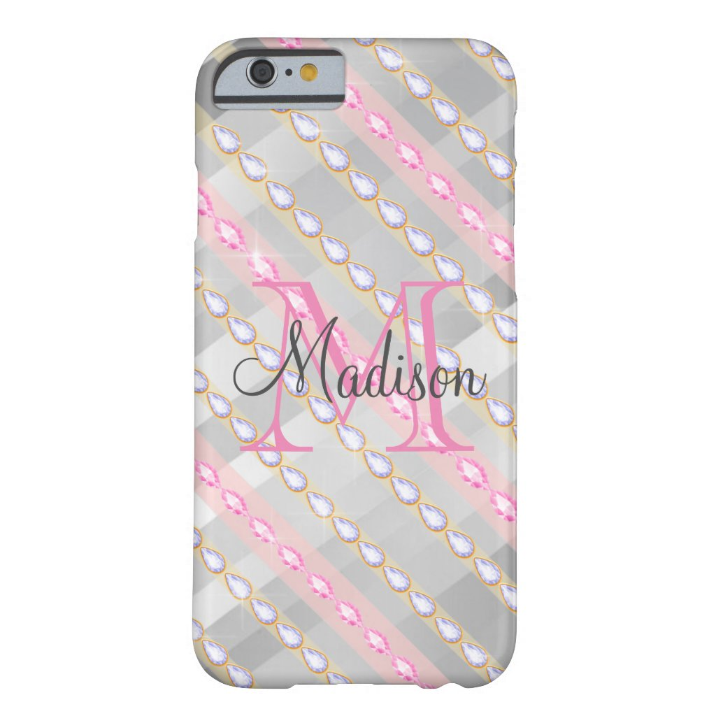 Silver Metallic Pink Rhinestones Personalized Barely There iPhone 6 Case