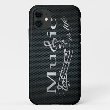 Silver Music is Life with Metal Mesh iPhone 11 Case