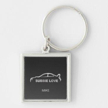 Silver Subbie STI with Faux Carbon Fiber Keychain