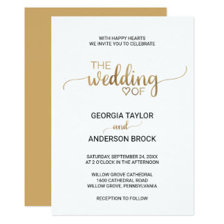 Simple And Elegant Gold Calligraphy Wedding Card