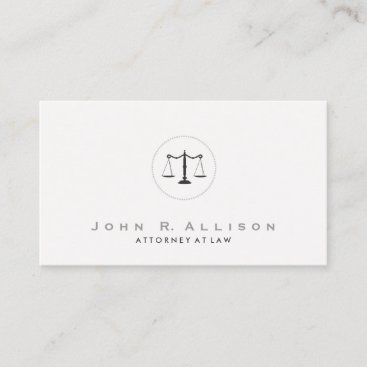 Simple and Elegant Justice Scale Attorney Business Card