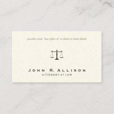 Simple and Sophisticated Attorney Ivory Business Card