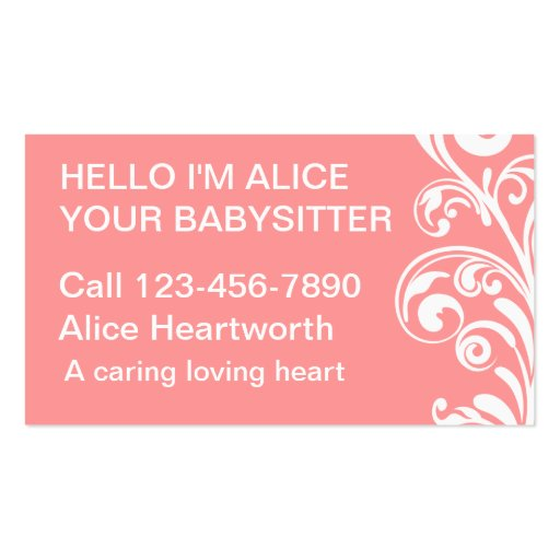 Simple Babysitting Business Cards Zazzle