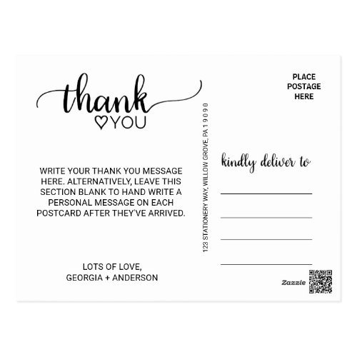 Simple Black &amp&#x3B; White Modern Calligraphy Thank You Postcard