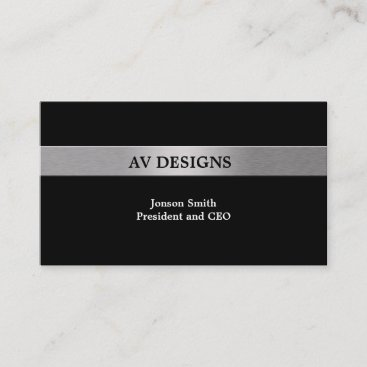 Simple Black with Siver Business Card