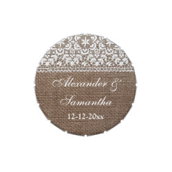 Simple Burlap and Lace Custom Wedding Favor Jelly Belly Tin