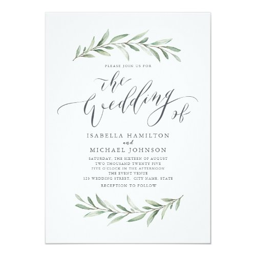 Simple calligraphy rustic greenery wedding invitation