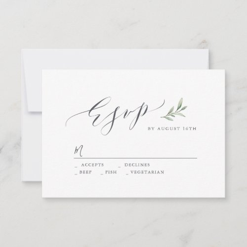 Simple calligraphy rustic greenery wedding RSVP