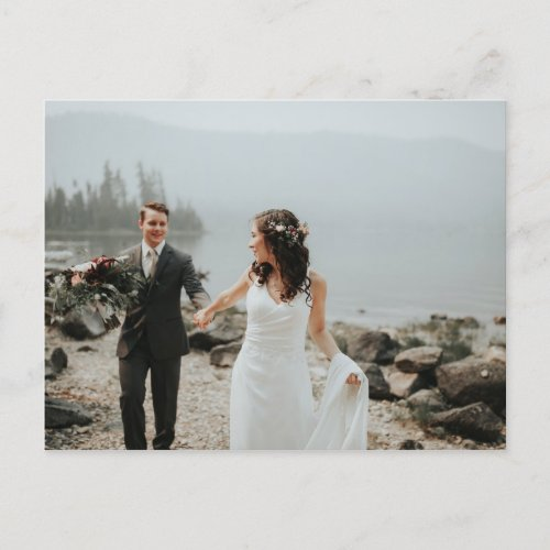 Simple Calligraphy Wedding Photo Thank You Announcement Postcard