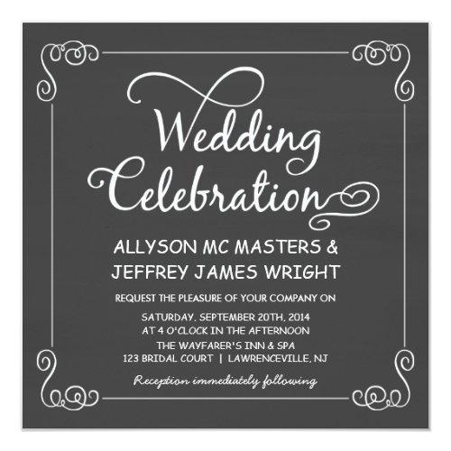 Simple Chalkboard Wedding Invitations