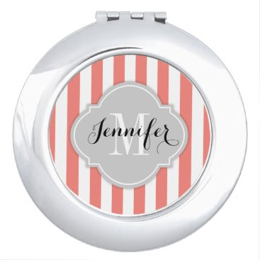 Simple Coral Pink and White Stripes with Monogram Compact Mirror