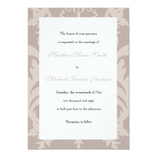 Vera Engraved Taupe Whimsical Calligraphy Invitation