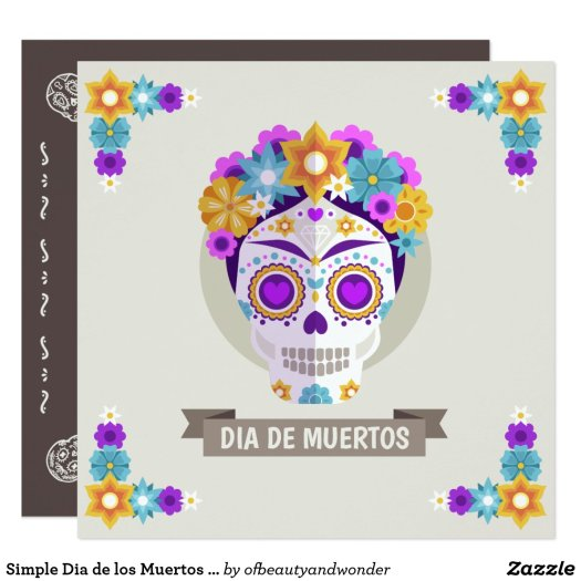 Simple Dia de los Muertos Floral Skull Invitation