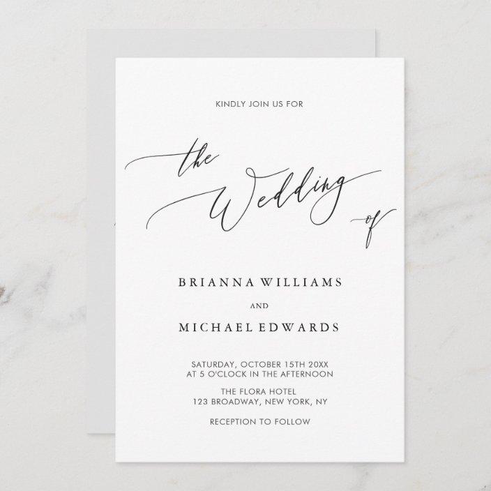 simple elegant calligraphy wedding invitation zazzle com
