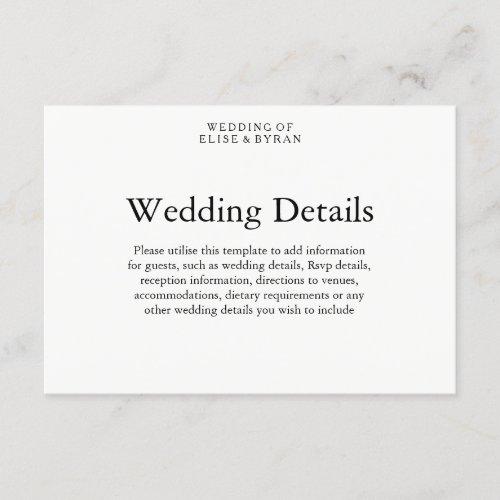 Simple Elegant Modern Script Wedding Details Enclosure Card