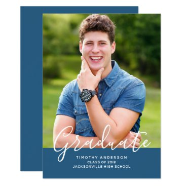 Simple Elegant Photo Graduation Vertical | Blue Card