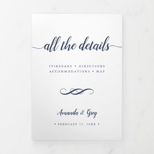 Simple Elegant Wedding Details Enclosure Tri-Fold Invitation