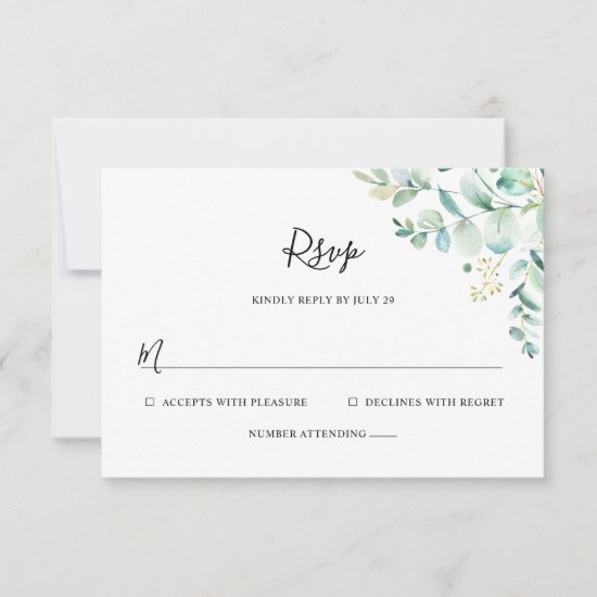Simple Eucalyptus Greenery RSVP Card