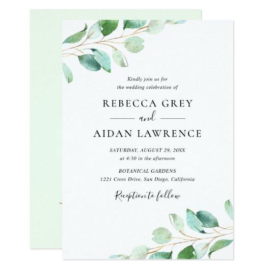 Simple Eucalyptus Greenery Wedding Invitation