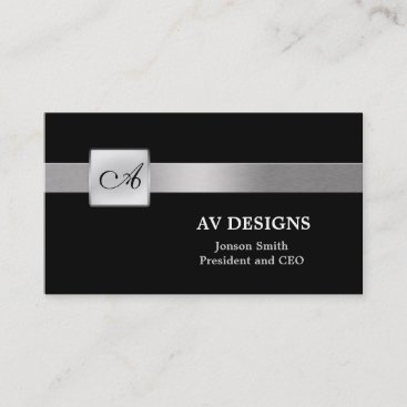 Simple Monogram Black and Silver Business Card