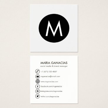 Simple Monogram Black and White Social Media Square Business Card