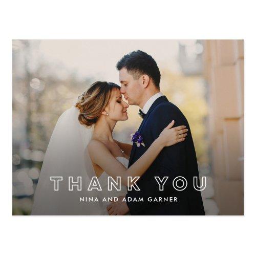Simple Outline Wedding Thank You Postcard