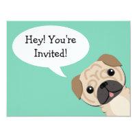 Simple Pug Birthday Invitation