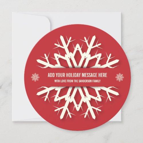 Simple Red Snowflake Christmas Photo Card | Round
