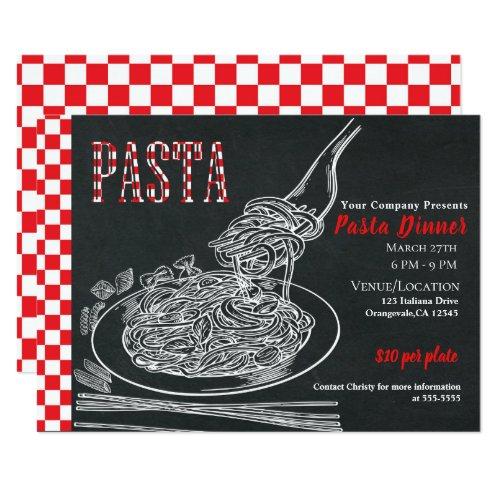 Simple Spaghetti Pasta Chalk Dinner Party Event Invitation