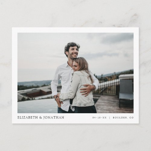Simple Stylish Modern Photo Wedding Save the Date Invitation Postcard