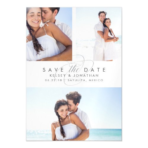 Simply Elegant Photo Collage Save the Date Magnetic Invitation